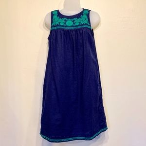 J.CREW Navy w/ Green Embroidery Peasant Dress